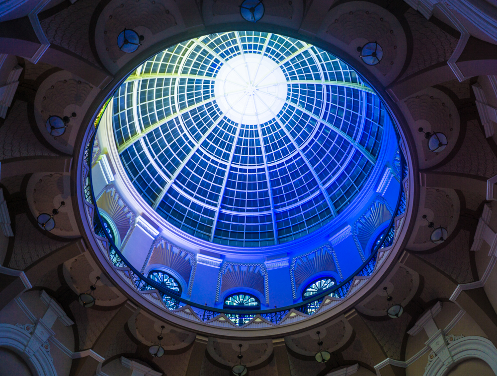 Winter Gardens dome lit in yellow, white and blue by Chroma powerline