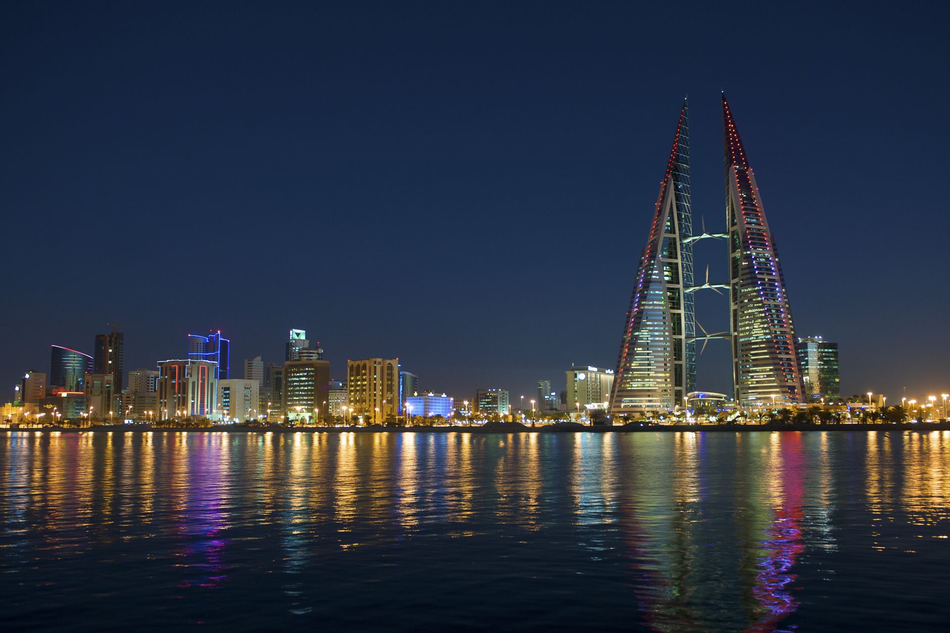 Bahrain World Trade Center with red and blue Chroma AR111