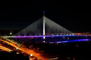 Ada Bridge Purple LED Lighting Belgrade Serbia