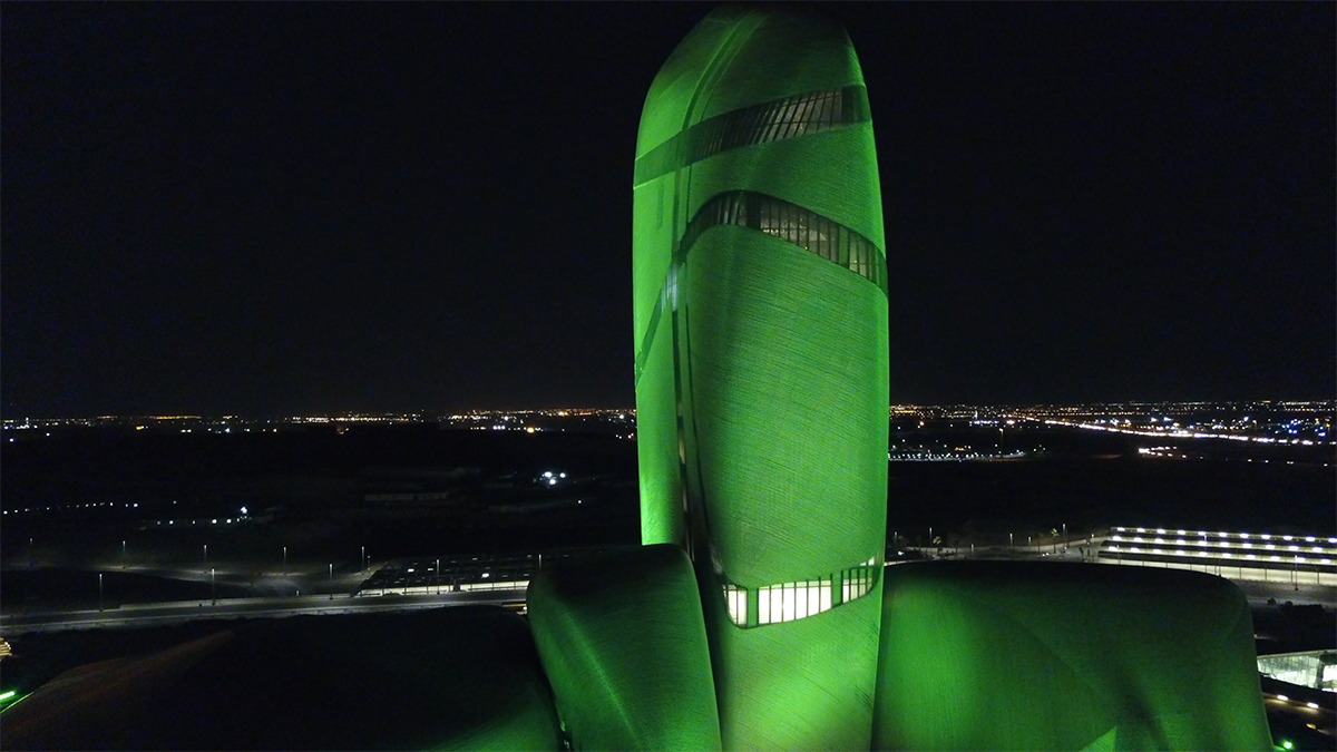 King Abdulaziz Center, illuminated green by Luxeos 36 RGBW luminaires