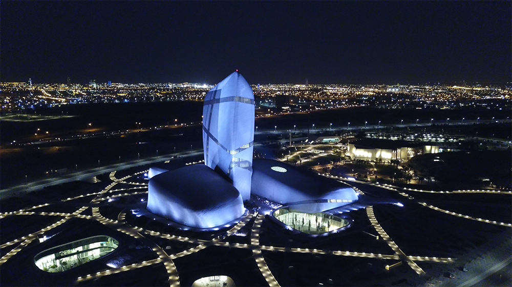 King Abdulaziz Center, illuminated steel blue by Luxeos 36 RGBW luminaires