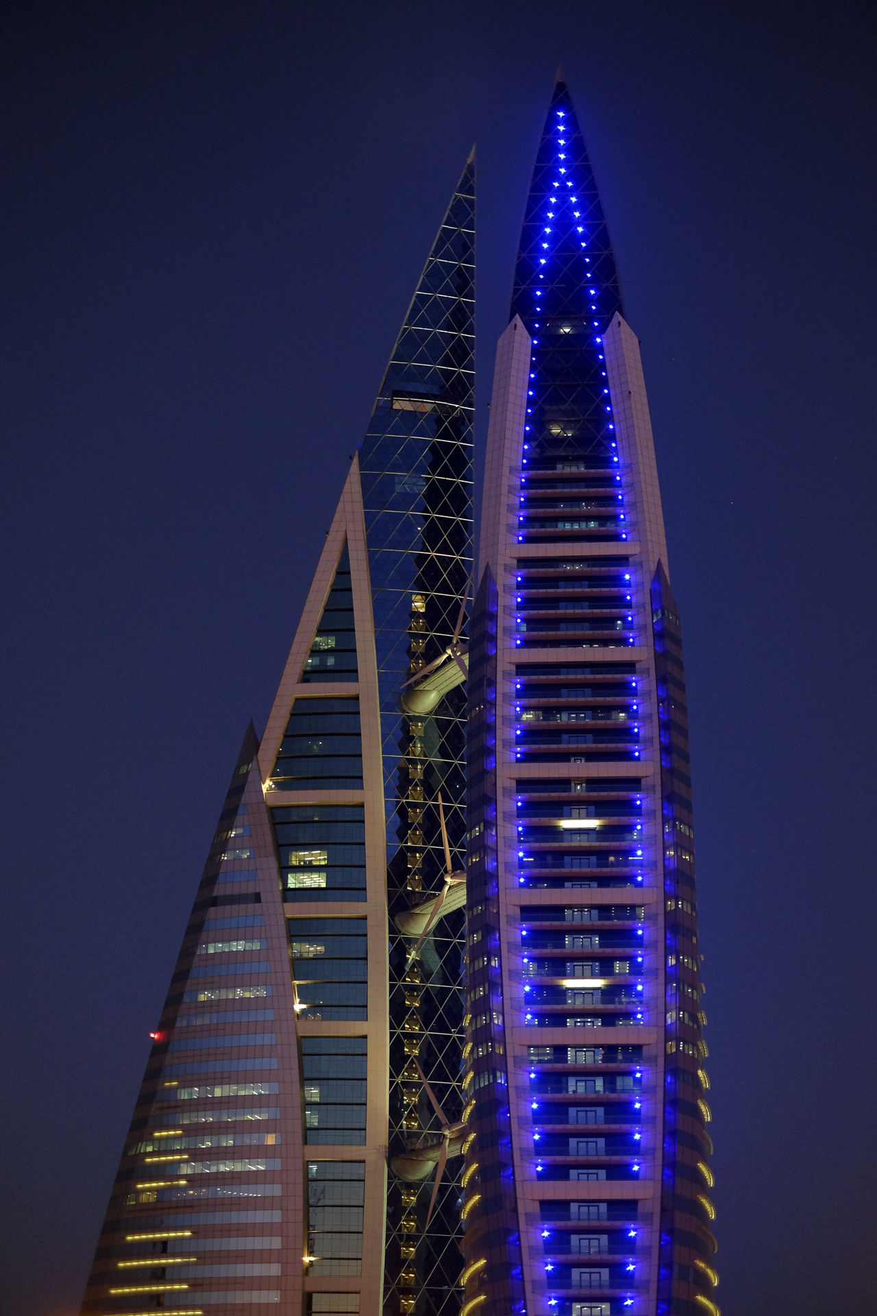 Bahrain World Trade Center with blue Chroma AR111